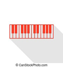 Piano Keyboard sign. Red icon with flat style shadow path.