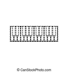 Piano Keyboard sign. Vector. Black dashed icon on white...