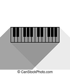 Piano Keyboard sign. Vector. Black icon with two flat gray shadows on white background.