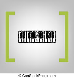 Piano Keyboard sign. Vector. Black scribble icon in citron...