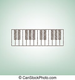 Piano Keyboard sign. Vector. Brown flax icon on green...