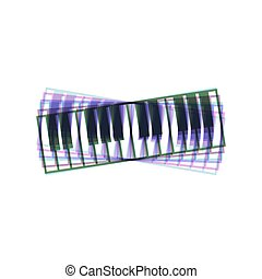 Piano Keyboard sign. Vector. Colorful icon shaked with...