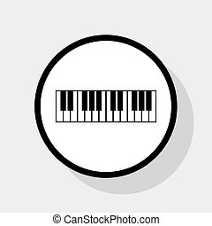Piano Keyboard sign. Vector. Flat black icon in white circle...