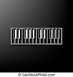 Piano Keyboard sign. Vector. Gray 3d printed icon on black background.