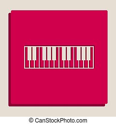 Piano Keyboard sign. Vector. Grayscale version of...