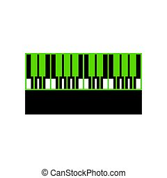 Piano Keyboard sign. Vector. Green 3d icon with black side...
