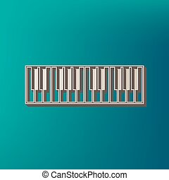 Piano Keyboard sign. Vector. Icon printed at 3d on sea color...