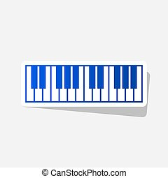 Piano Keyboard sign. Vector. New year bluish icon with...