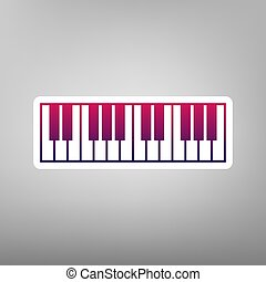Piano Keyboard sign. Vector. Purple gradient icon on white paper at gray background.