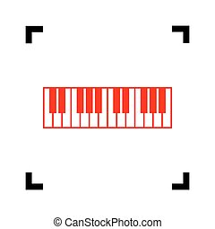 Piano Keyboard sign. Vector. Red icon inside black focus...