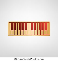 Piano Keyboard sign. Vector. Red icon on gold sticker at...