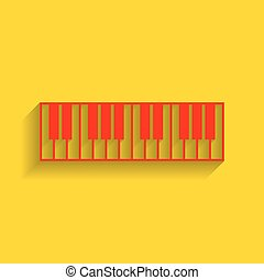 Piano Keyboard sign. Vector. Red icon with soft shadow on golden background.