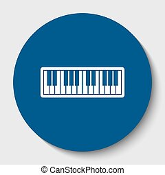Piano Keyboard sign. Vector. White contour icon in dark...