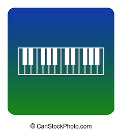 Piano Keyboard sign. Vector. White icon at green-blue...