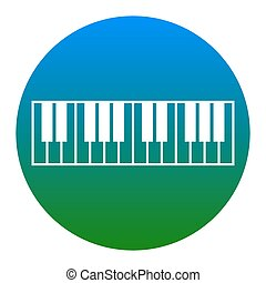 Piano Keyboard sign. Vector. White icon in bluish circle on...