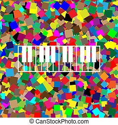Piano Keyboard sign. Vector. White icon on colorful...