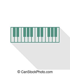 Piano Keyboard sign. Veridian icon with flat style shadow...