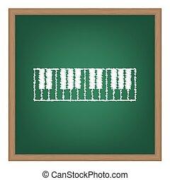Piano Keyboard sign. White chalk effect on green school...