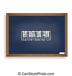 Piano Keyboard sign. White chalk icon on blue school board with