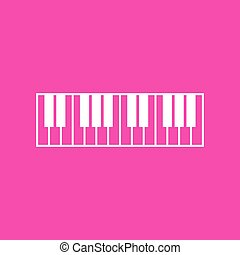 Piano Keyboard sign. White icon at magenta background.