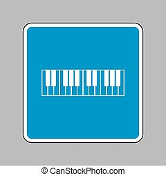 Piano Keyboard sign. White icon on blue sign as background.