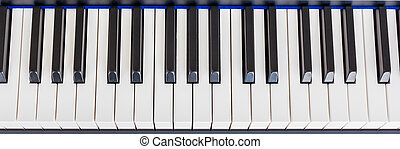 Piano Keyboard synthesizer closeup key top view