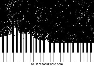 Piano keyboard - Vector piano keyboard on black background (...