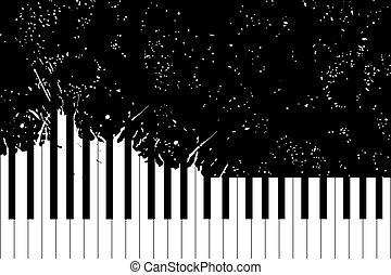 Piano keyboard - Vector piano keyboard on black background...