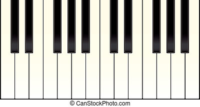 piano keyboard with black and white keys illustrated