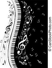 Piano Keyboard with Music Notes - Abstract illustration of a...