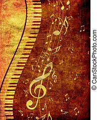 Piano Keyboard with Music Notes Grunge