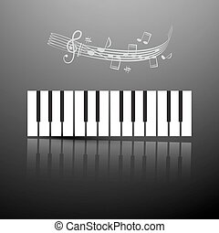 Piano Keyboard with Notes and Staff on Dark Silver Background. Vector LP Cover Design.