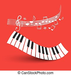 Piano Keyboard with Staff on Red Background Illustration.