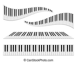 Piano Keyboards - Piano keyboards vector illustrations. ...