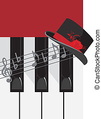 Piano keys and female hat. Vector illustration