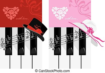 Piano keys and female hat. Romantic music. Vector...