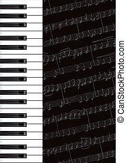 Piano keys and notes. Vector background.
