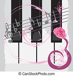 Piano keys and notes - Piano keys, notes and abstract guitar...