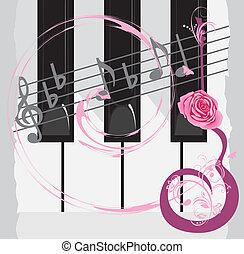 Piano keys and notes - Piano keys, notes and abstract guitar...