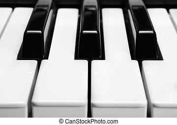 piano keys, close-up.