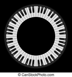 Piano keys. Circular illustration, for creative design on...