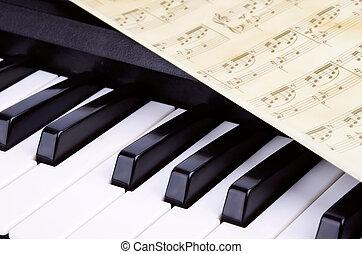 Piano keys closeup, music