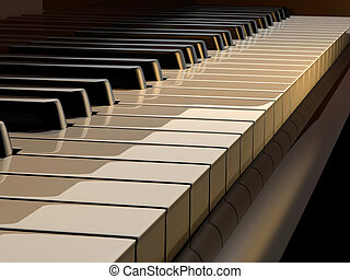 Piano keys - Close up of piano keys - rendered in 3d