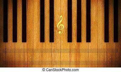 Piano keys - illustration of Piano keys wood for music...
