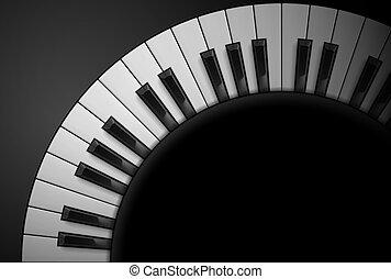 Piano keys on black background. Illustration for design