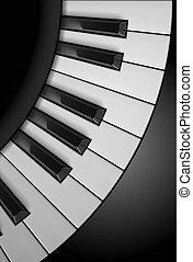 Piano keys. Illustration on black background, for design