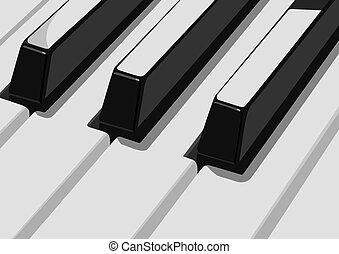 Piano keys - Musical instruments. Black and white keys...