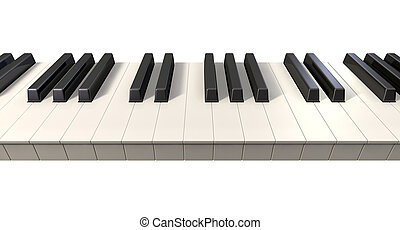 A full set of regular piano keys on an isolated white background