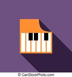 Piano keys icon, flat style - Piano keys icon in flat style...
