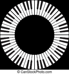 Piano keys in an O ring circle isolated on black